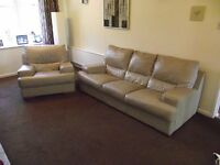 Beige leather sofa and two chairs