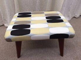 Retro Footstool: newly upholstered. Vintage. Teak Legs. MCM. Mid Century Modern