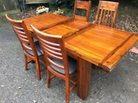 Brand new ex display solid Acacia Extending Kitchen Dining table & 4 chairs