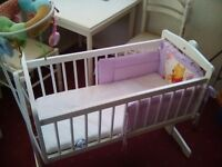 Babie's crib. includes mattress, bumper and mobile. £30