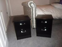 BLACK BEDSIDE CABINETS EXCELLENT CONDITION