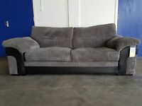 AS NEW FABRIC 3 SEATER SOFA / SETTEE / SUITE CHARCOAL / GREY WITH BLACK LEATHER FINISH CAN DELIVER