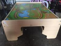 Wooden train table with draw