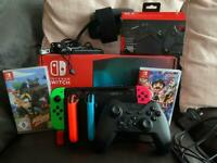 Nintendo Switch (boxed) with Extras and 2 Games