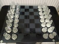 """Glass Chess and Draughts Set 13""""X13"""""""