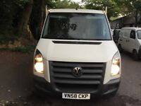 VW CRAFTER TIPPER CR35 136 BHP 2.5LT MWB 3.5 TON CAGED TIPPER ,52000 GENUINE MILES 2008/58 REG NOVAT