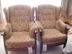 High back Ercol armchairs