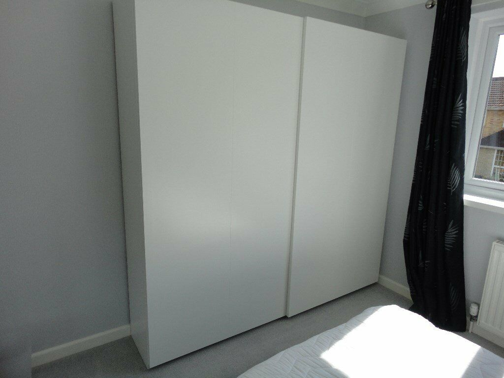 Ikea Pair Of White Sliding Hasvik Wardrobe Doors With Sliding Door