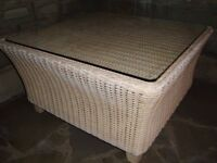 M & S WICKER COFFEE TABLE WITH GLASS TOP IN VERY GOOD CONDITION ONLY £25 FOR QUICK SALE