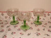 Vintage crystal champagne saucers.