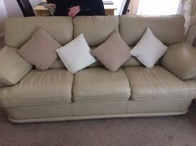 Leather Cream Sofa - 3 Seater & 2 Seater for Sale