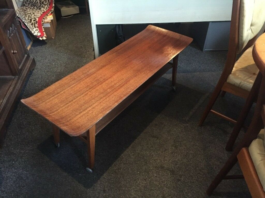 1950s Vintage Bent Plywood Teak Retro Surfboard Coffee Table