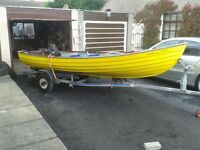 15ft witco fiberglass boat with indespension coaster 1 trailer