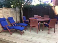 Solid Teak Wooden Round Table with Lazy Susan with 6 chairs plus 2 Recliners