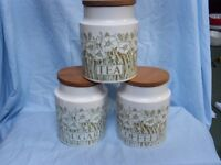 """Hornsea pottery """"fleur """" cannisters coffee/ sugar and tea"""