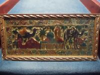 Moroccan Brass Wall Plaque ~ Hand Made and Hand Coloured