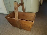 beautiful old wooden log baskets (2 available)