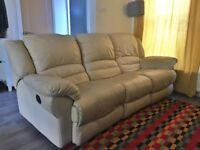 2 and 3 seater leather cream sofas