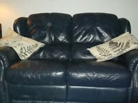 2 seater recliner sofa, dark blue leather
