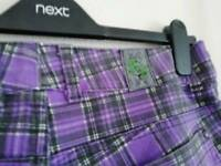 Reduced! Jist designer jeans 10L. Emo. Punk. Tartan. Purple check. Feel free to view anytime