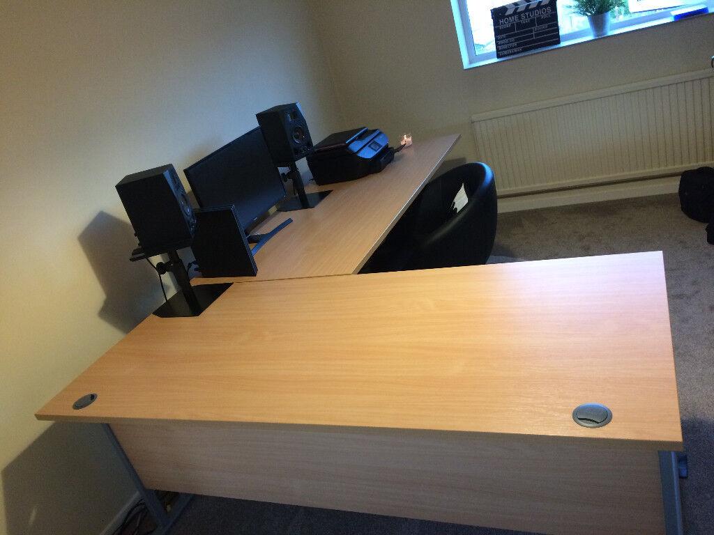 2x Large Beechwood Finish Office Desks - Good Condition