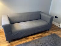 Ikea two seater sofa, white with grey cover
