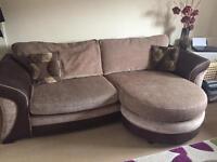Large fabric & leather sofa