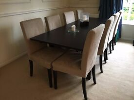 Fantastic Ikea dinind set + 8 chairs. Can dismantle. RRP £710 - grab a bargain from a house move!