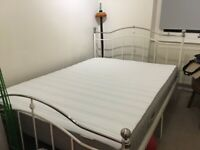 Double bed frame and nearly brand new mattress