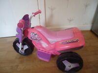 Injusa 3 wheel girls racing bike 6v ride on childs toddler electric