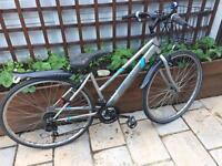 "Ladies 18"" excelle hybrid bike bicycle inc basket, lights & delivery"