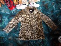 Papaya fake fur Leopard skin Jacket size 16