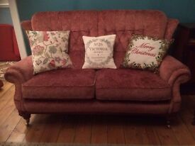 Edwardian Period Style Parker Knoll Sofa with Brass Castors
