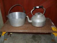 Large aluminium Aga kettle and jam pan