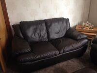 Brown Italian Leather 3 and 2 Seater Sofas with Pouffe Excellent Condition Can Deliver £250ono