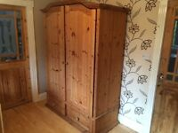PINE DOUBLE WARDROBE WITH 2 DRAWERS AND SHELVES
