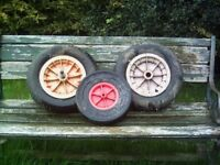 3 wheel barrow wheels 1with solid tyre 1with bearings and spindel 1wheel