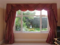 Luxury red/gold iridescent curtains (400cm x 270cm each) and/or pelmet (350cm long)