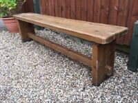 Vintage pine pegged bench