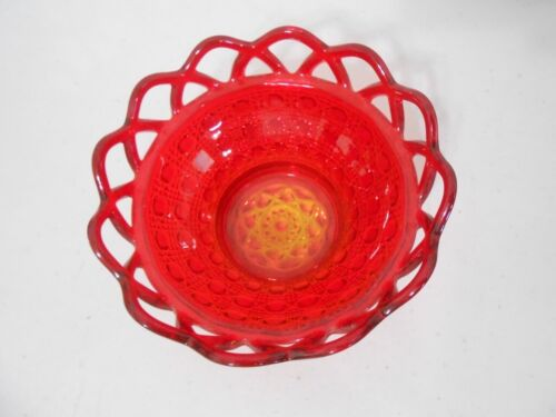 """Imperial Glass Amberina """"Laced Edge"""" Button & Cane Bowl-EX!"""