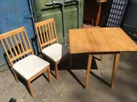 Drop leaf and two chairs
