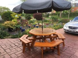 Large octagonal patio table and seats for eight people