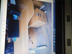 19 Ikea Bekant corner desk, height adjustable wood top white frame/legs
