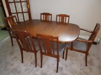 Retro G Plan 6 seater Dining Table & Chairs (Extendable)
