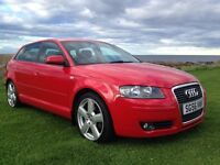 "Audi A3 Sportsback 2.0TDI Sport. Red. FSH. 129,500miles. GC. 58MPG. 3 Month MOT. 18"" Alloys."
