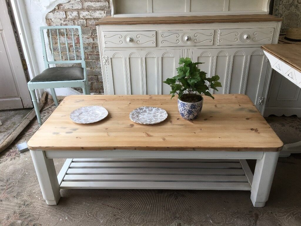 Solid Pine Coffee Table Chunky Vintage Large Stripped And Base Chalk Painted