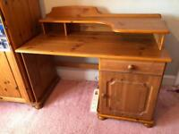 Pine desk with pull out shelf & removable top section