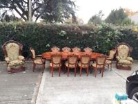 45 years old table with 10 chairs + 2 armchairs.