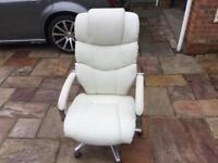 Luxury cream office chair hardly used in perfect condition no marks or wear