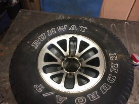 Mitsubishi pajero wheels, 50mm wheel spacers, centre caps and spare nuts.